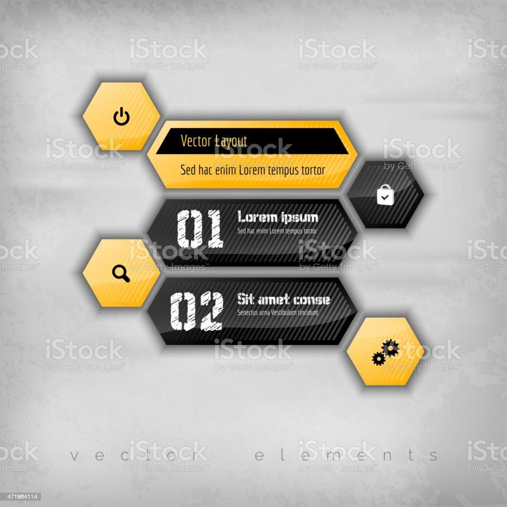 Hexagon Layout vector art illustration