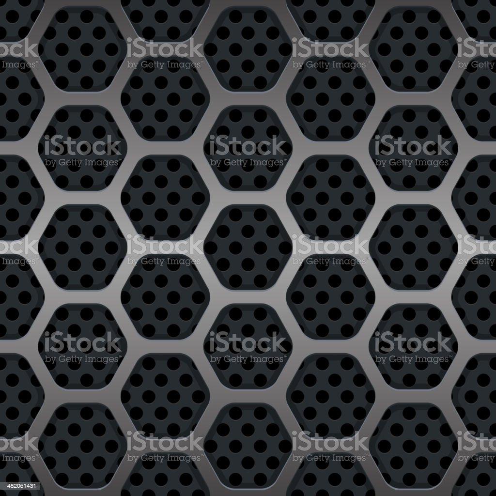 Hexagon Metal Grill Seamless Background. Vector vector art illustration