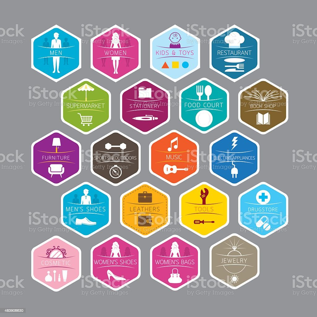 Hexagon Signs for Department Store vector art illustration