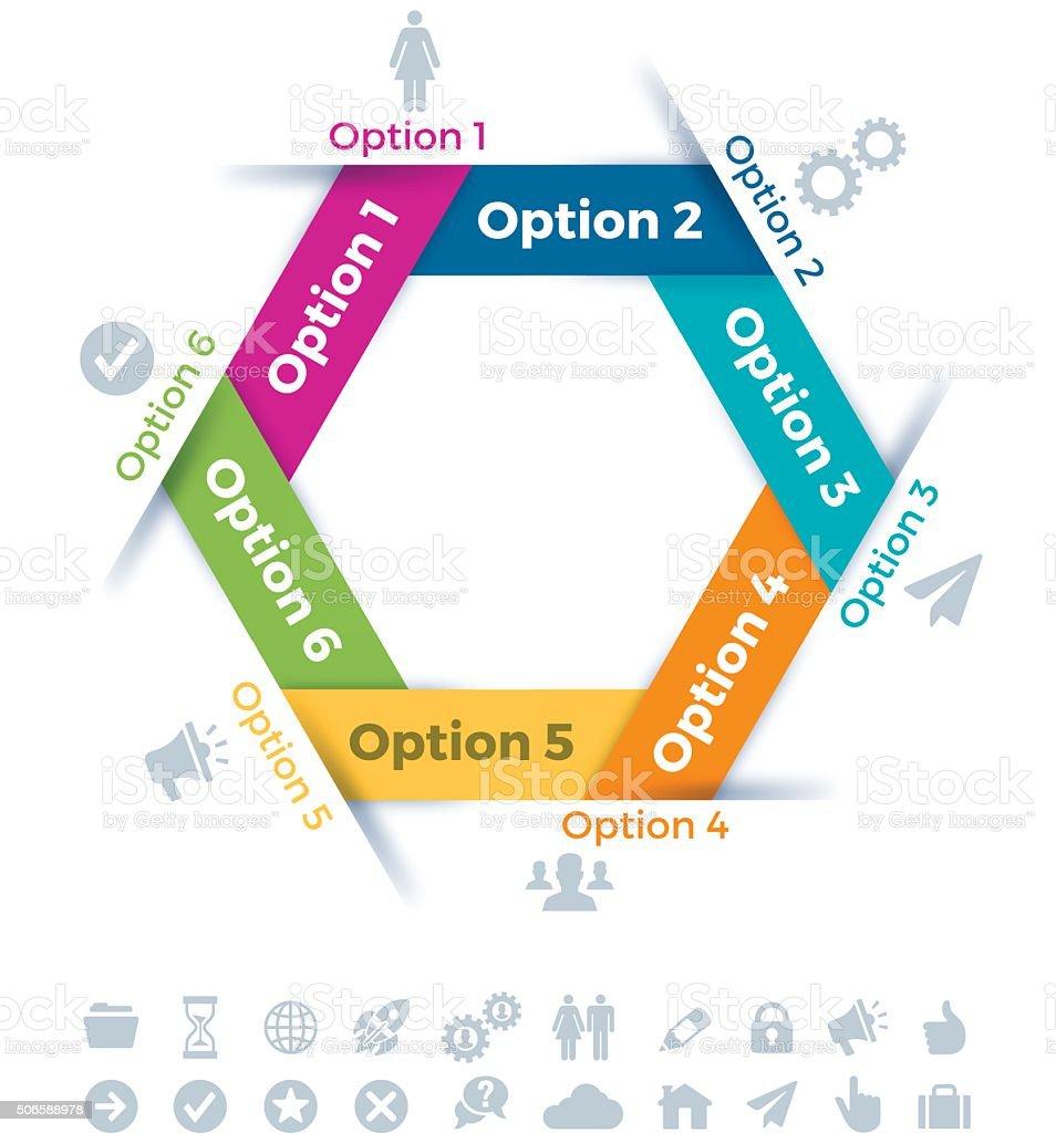 Hexagon Six Item Infographic Symbol vector art illustration