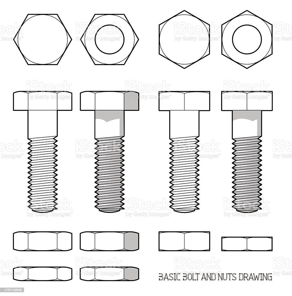 Hexagonal bolt and nuts vector art illustration