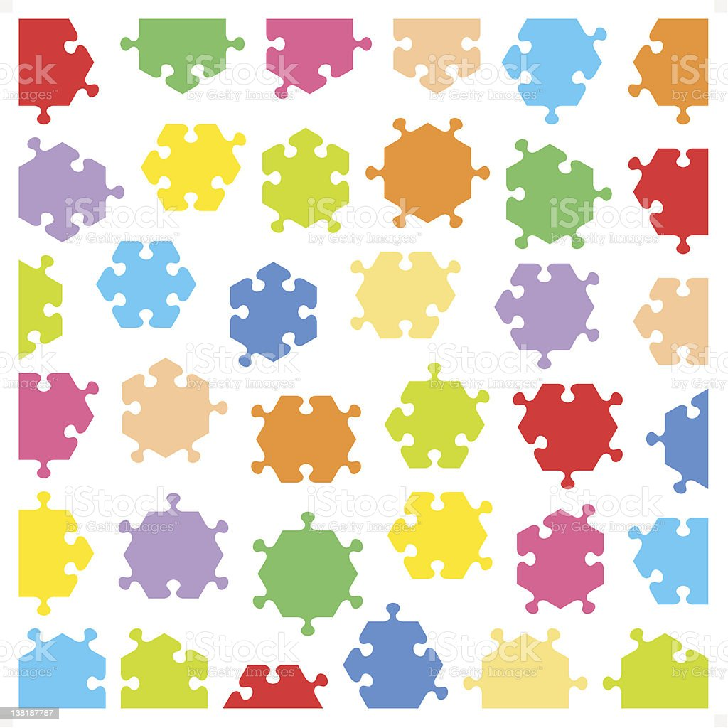 Hexagonal jigsaw puzzle pieces royalty-free stock vector art