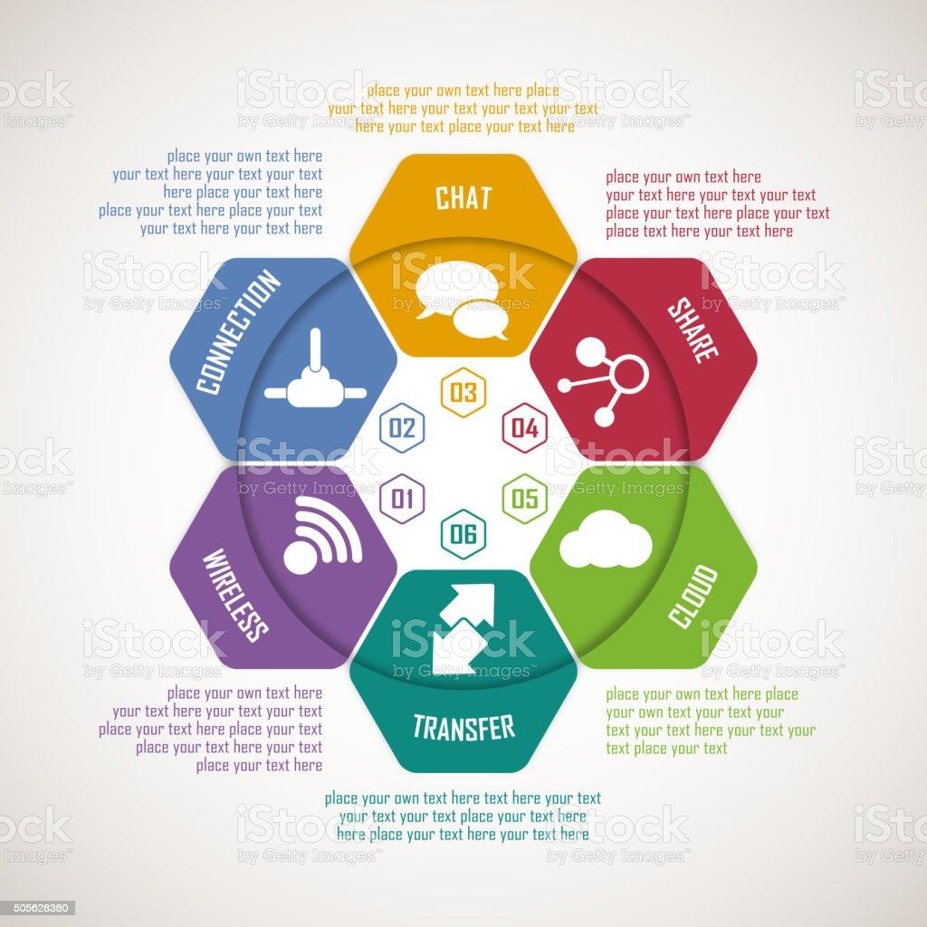 Hexagonal shape infographic elements vector art illustration