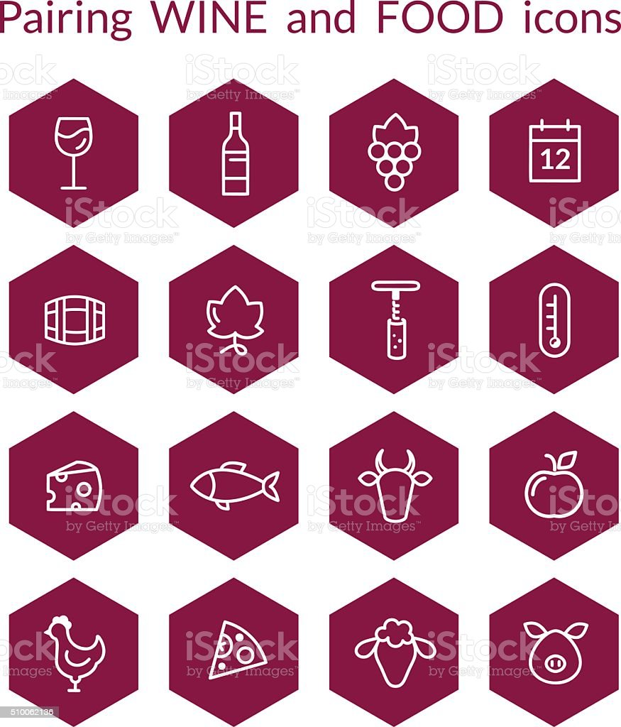 Hexagonal wine and food pairing icons vector art illustration