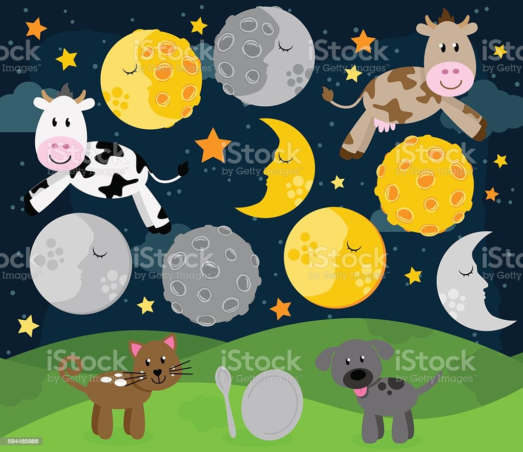 Hey Diddle Diddle Nursery Rhyme Landscape vector art illustration