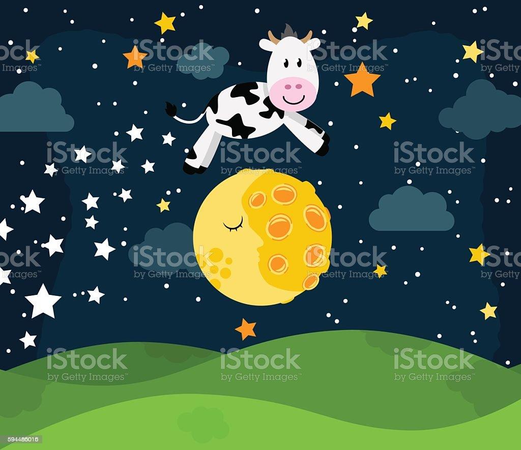 Hey Diddle Diddle Nursery Rhyme Landscape vector art illustration