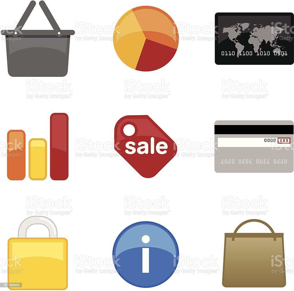 hi gloss icon set: finance + commerce royalty-free stock vector art