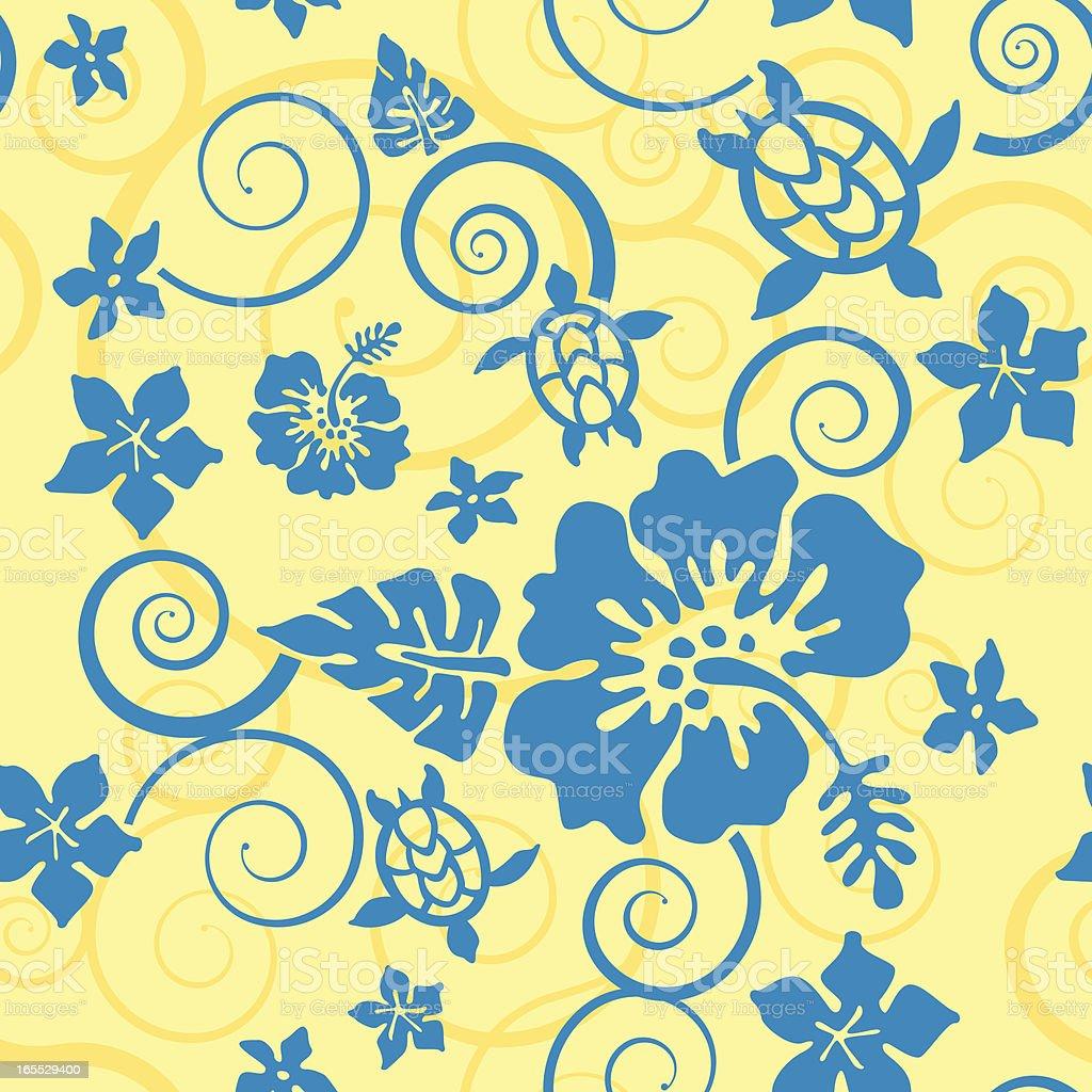 Hibiscus and Turtles Hawai'ian Pattern vector art illustration