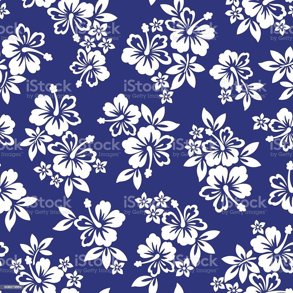 Hibiscus flower pattern vector art illustration