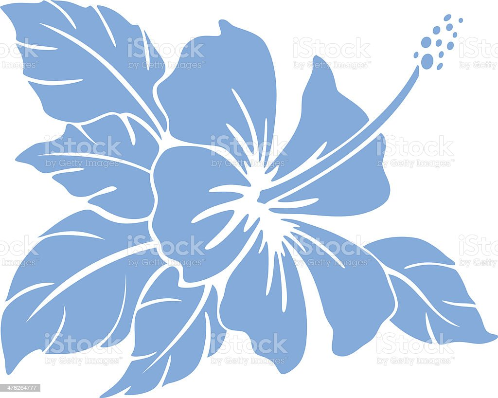 Hibiscus flower. Silhouette vector art illustration