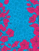 Hibiscus Flowers Frame with Hexagonal Pattern Background