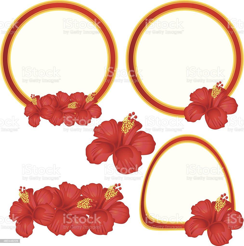 Hibiscus flowers labels set. vector art illustration
