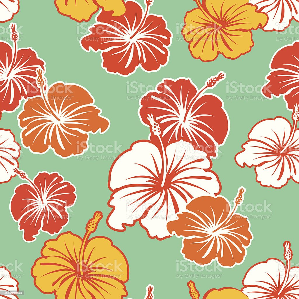 Hibiscus Seamless Pattern vector art illustration