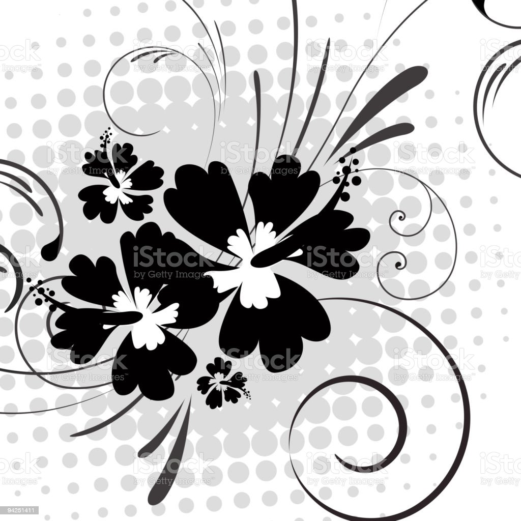 Hibiscus with swirls on halftone background royalty-free stock vector art