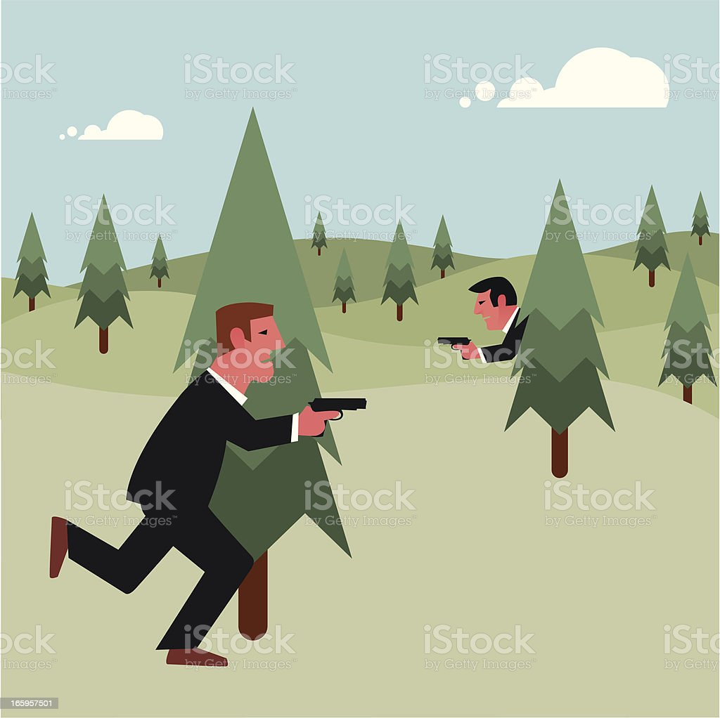 Hide and seek in the woods vector art illustration