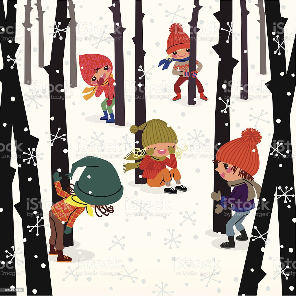 Hide-And-Seek in the Wood. vector art illustration