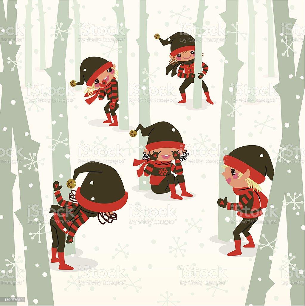 Hide-And-Seek vector art illustration