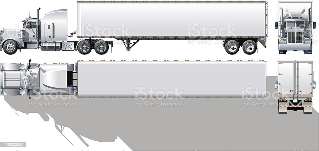 Hi-detailed commercial semi-truck royalty-free stock vector art