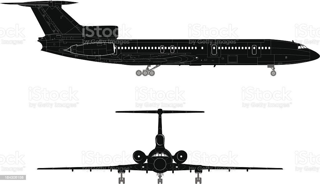 Hi-detailed jet silhouette royalty-free stock vector art