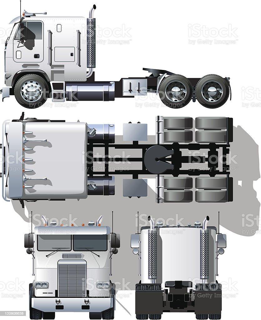 Hi-detailed semi-truck royalty-free stock vector art