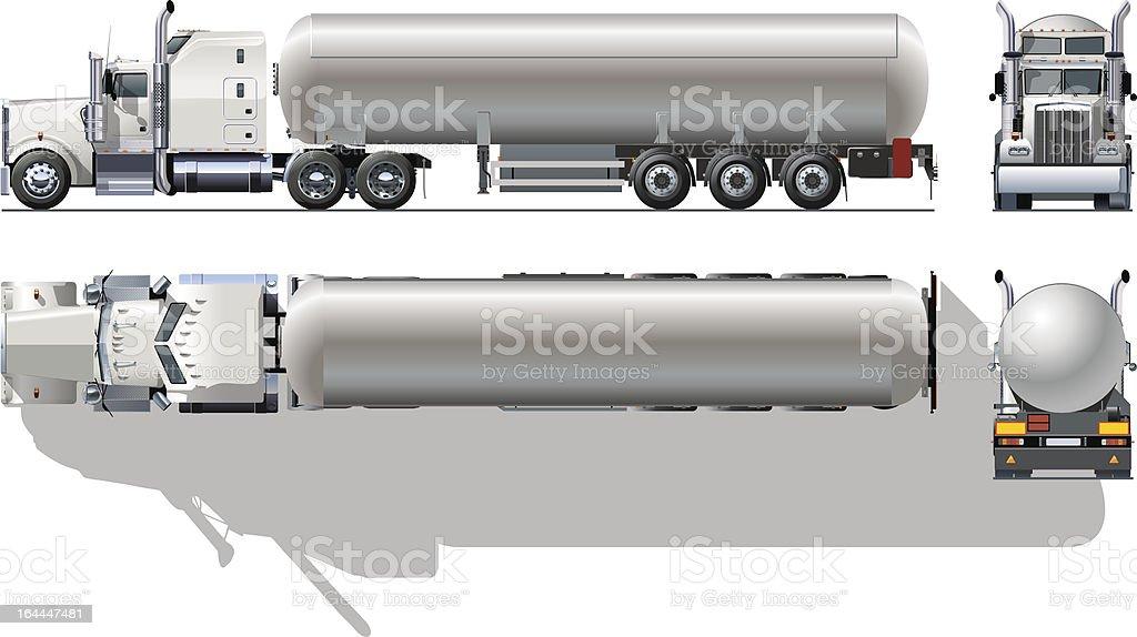 Hi-detailed tanker semi-truck vector art illustration