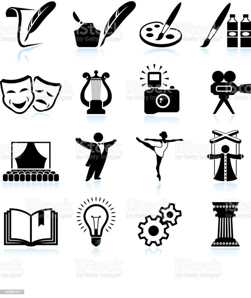 High Art Culture and creativity black & white icon set vector art illustration