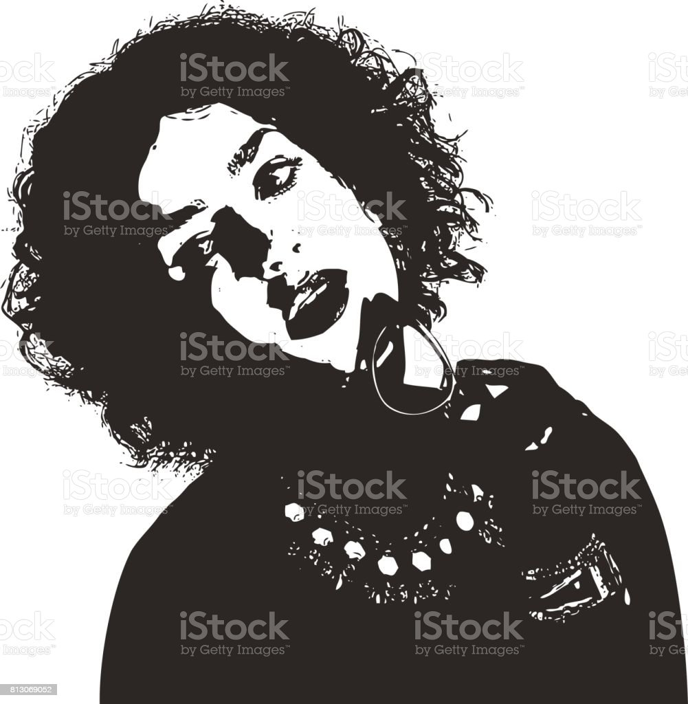 High contrast illustration of a pensive adult businesswoman vector art illustration