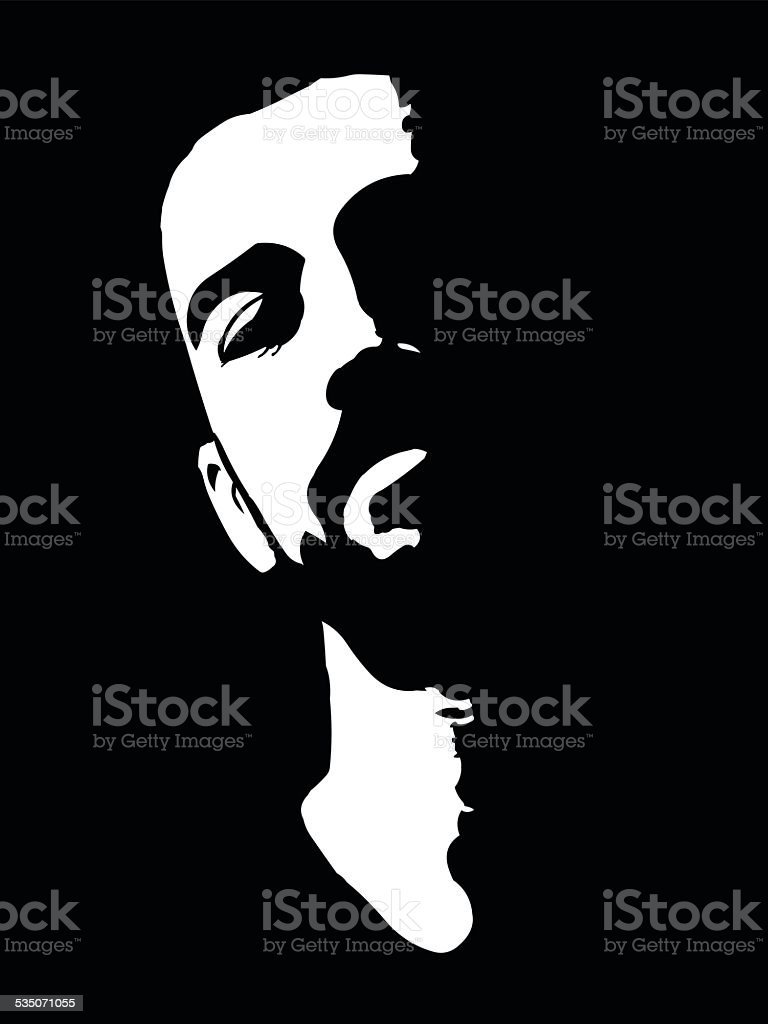 High contrast vector portrait of confident young man vector art illustration
