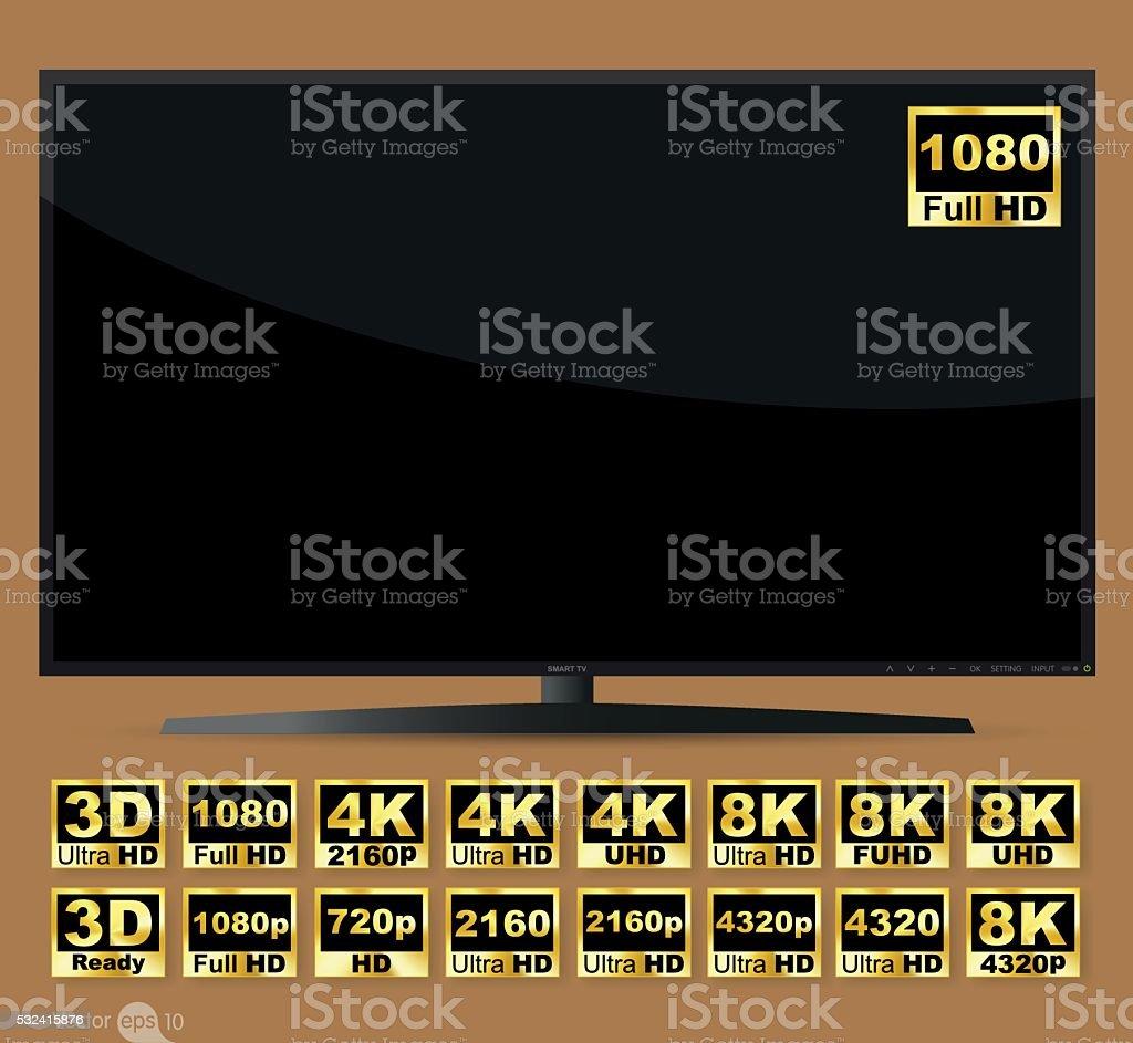High definition digital television screen vector art illustration