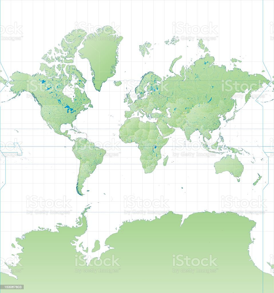 High Detail World Map Mercator Projection royalty-free stock vector art