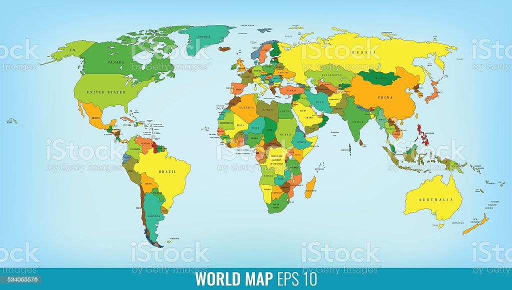 High Detail World Map. Vector royalty-free stock vector art