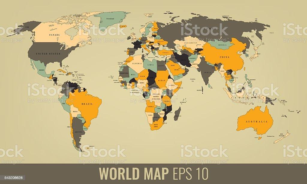 High Detail World Map. Vector royalty-free stock vector art