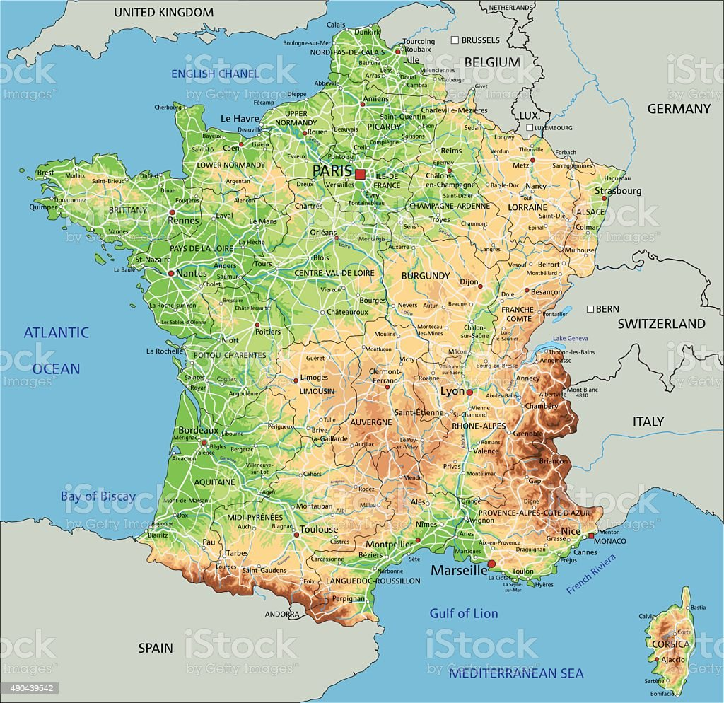 High detailed France physical map. vector art illustration