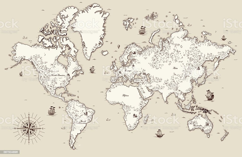 High detailed, Old world map with decorative elements vector art illustration