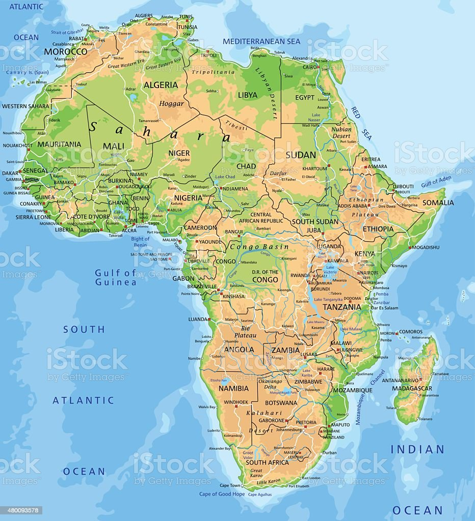 High detailed physical map of Africa. vector art illustration