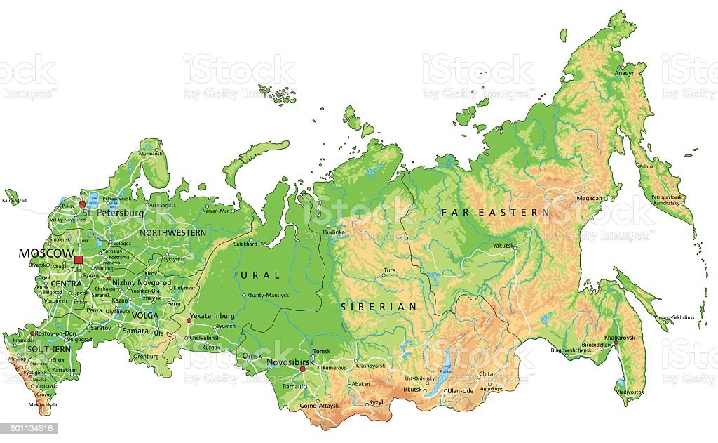 High detailed Russia physical map with labeling. vector art illustration
