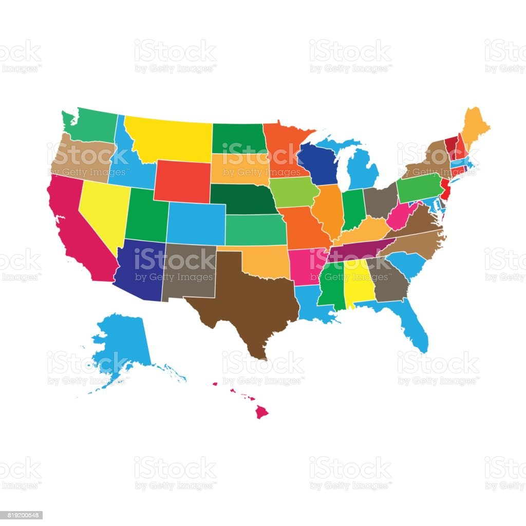 High detailed USA map with federal states. Vector illustration United states of America. vector art illustration