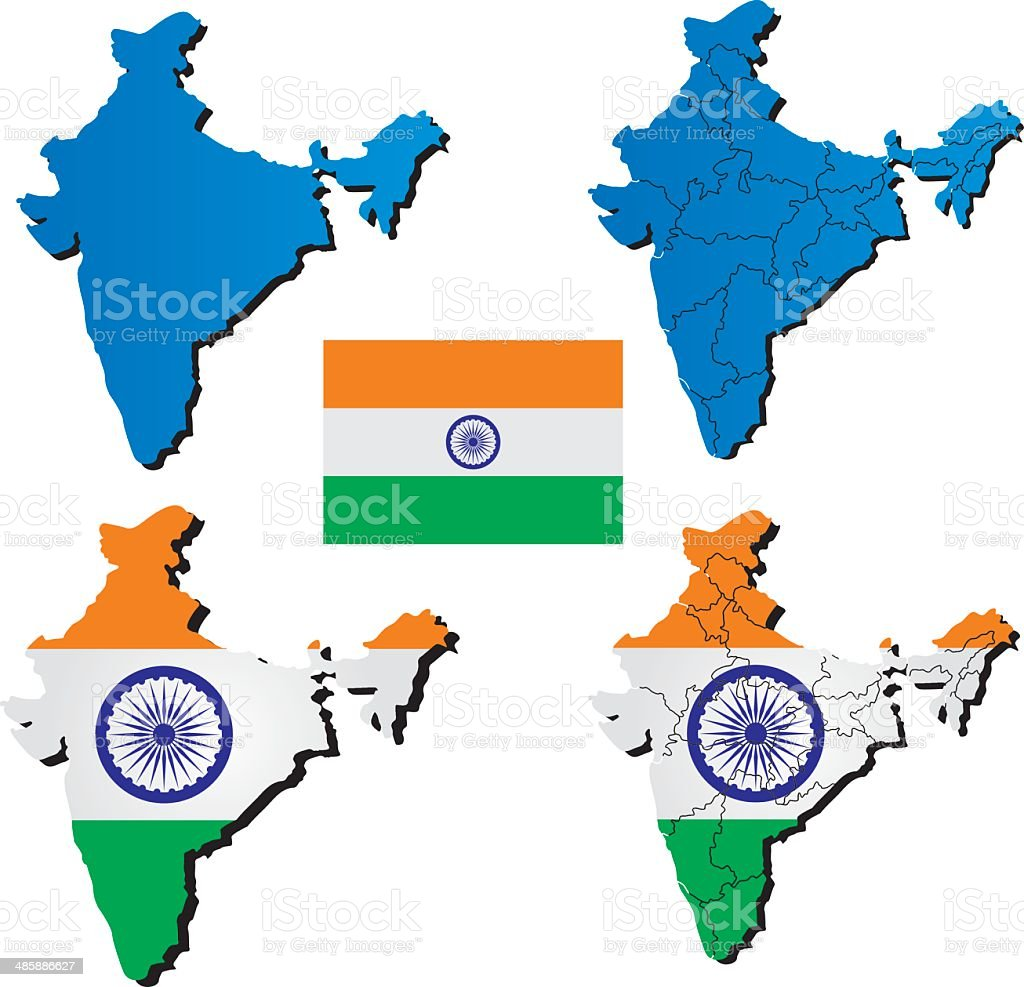 High detailed vector map - India royalty-free stock vector art