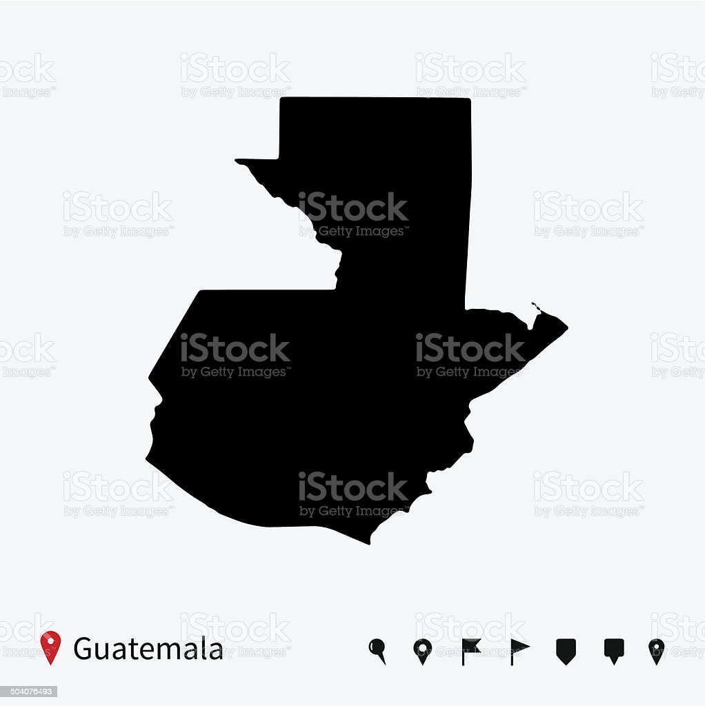 High detailed vector map of Guatemala with navigation pins. vector art illustration