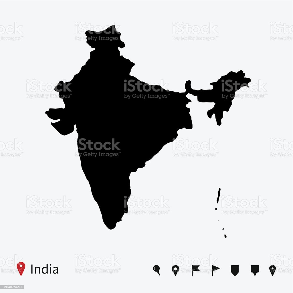 High detailed vector map of India with navigation pins. vector art illustration