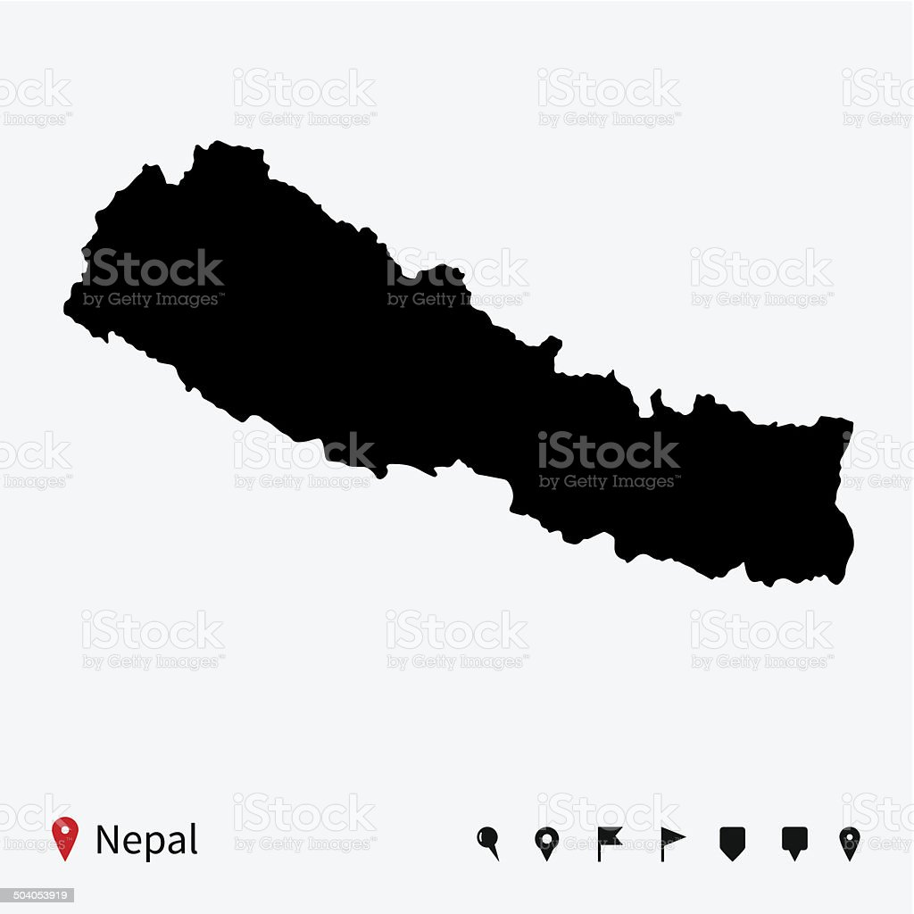 High detailed vector map of Nepal with navigation pins. vector art illustration