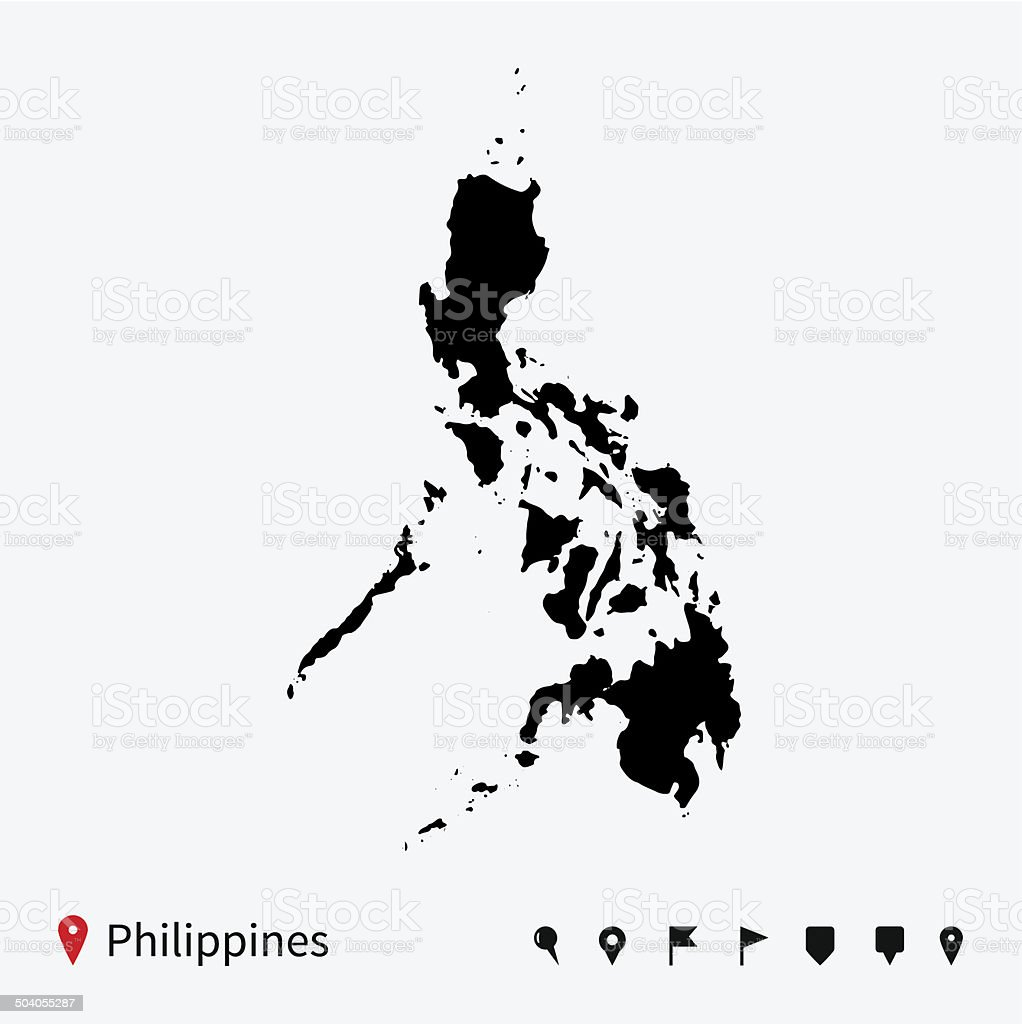 High detailed vector map of Philippines with navigation pins. vector art illustration