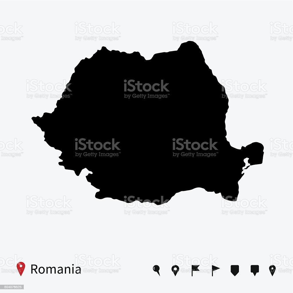 High detailed vector map of Romania with navigation pins. vector art illustration
