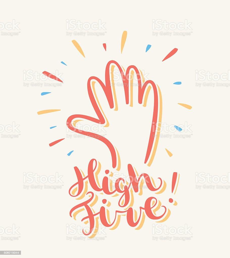 High five. Greeting card. vector art illustration
