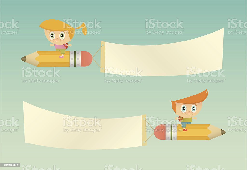 High Flying Students with Banners royalty-free stock vector art