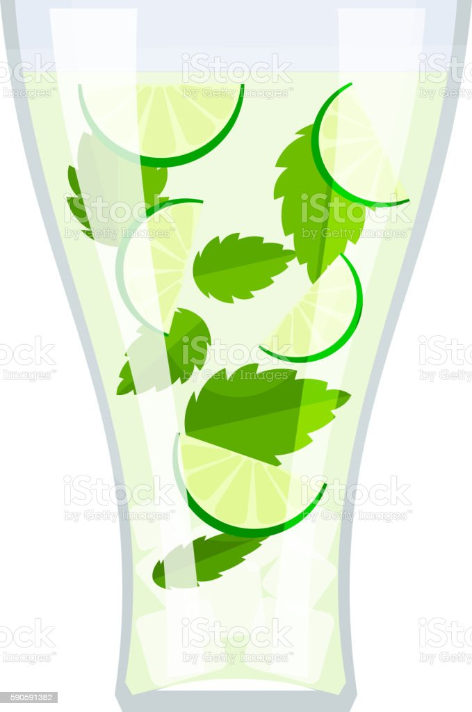 High glass with a drink mojitos, mint leaves, lime slices vector art illustration