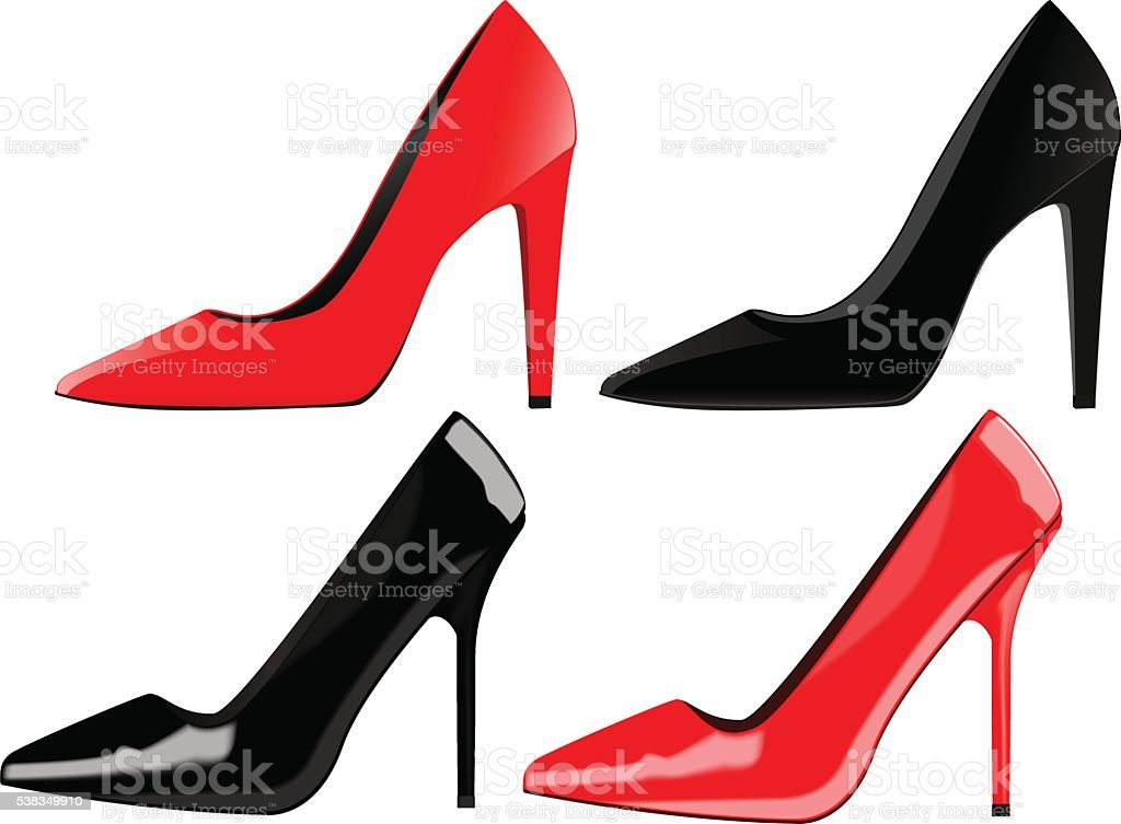 High heels, classic women shoes, red and black. vector art illustration