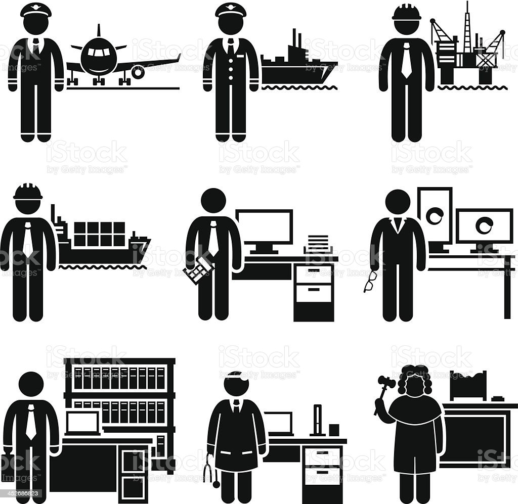 High Income Professional Jobs Occupations Careers vector art illustration