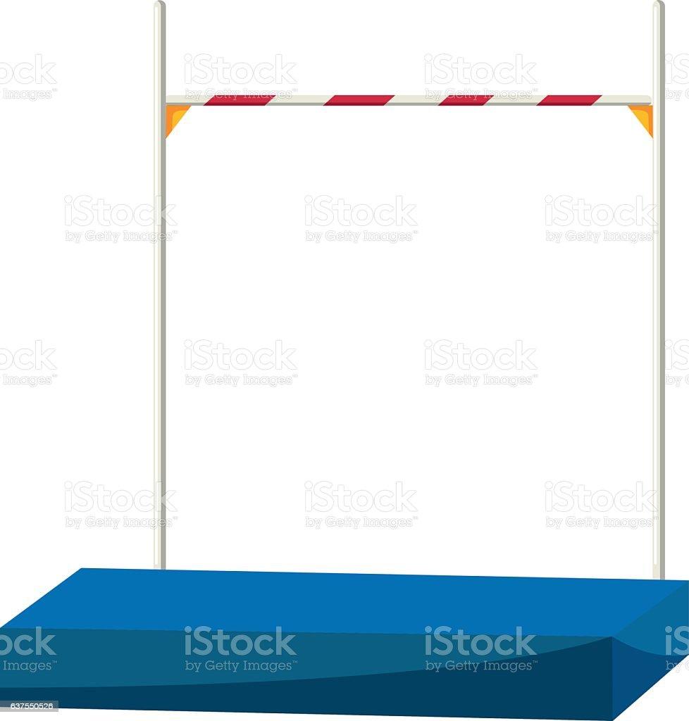 High jump bar and equipment vector art illustration