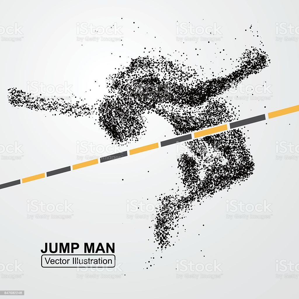 High jump man,Vector graphics composed of particles. vector art illustration
